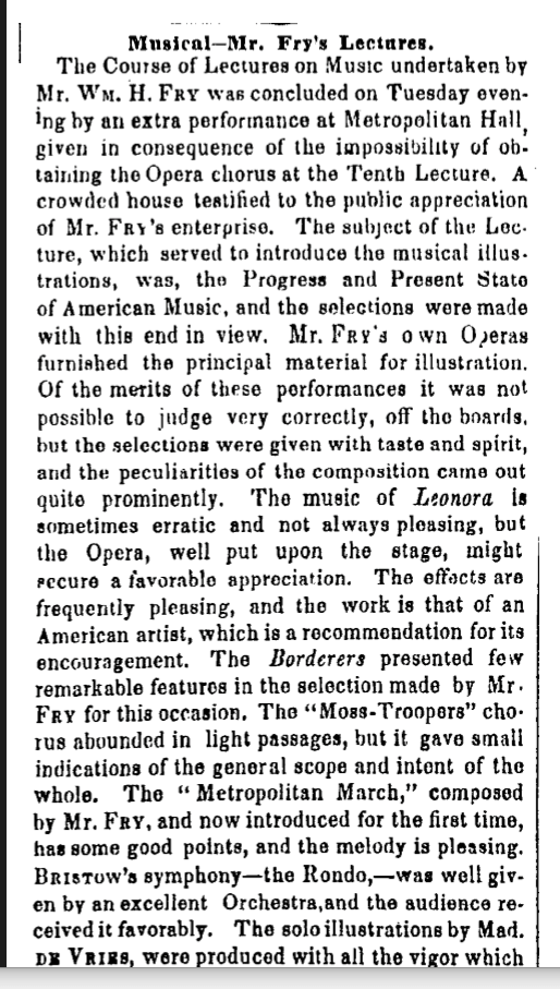 Fry lecture 1853 NYT